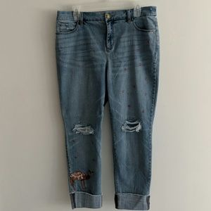 Beaded Ankle length jeans